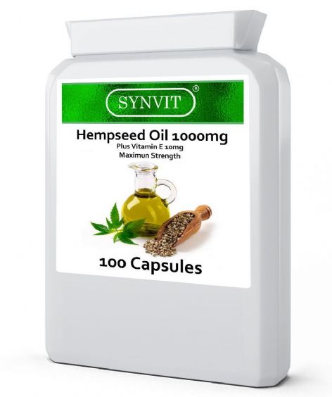 Super Strength Hempseed Oil 1000mg+ Vit E 10mg 100 Caps Omega 3 6  Synvit®